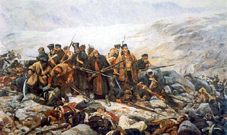 The Last Stand of the 44th Regiment at Gundamuck during the Retreat from Kabul by William Barnes Wollen
